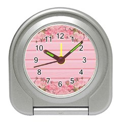 Pink Peony Outline Romantic Travel Alarm Clocks by Simbadda