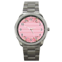 Pink Peony Outline Romantic Sport Metal Watch by Simbadda