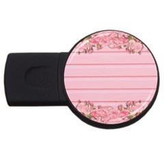 Pink Peony Outline Romantic Usb Flash Drive Round (4 Gb) by Simbadda