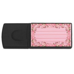 Pink Peony Outline Romantic Usb Flash Drive Rectangular (4 Gb) by Simbadda