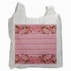 Pink Peony Outline Romantic Recycle Bag (one Side) by Simbadda