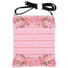 Pink Peony Outline Romantic Shoulder Sling Bags by Simbadda
