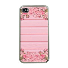Pink Peony Outline Romantic Apple Iphone 4 Case (clear) by Simbadda