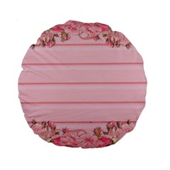 Pink Peony Outline Romantic Standard 15  Premium Round Cushions
