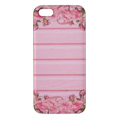 Pink Peony Outline Romantic Apple Iphone 5 Premium Hardshell Case by Simbadda