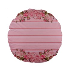 Pink Peony Outline Romantic Standard 15  Premium Flano Round Cushions by Simbadda
