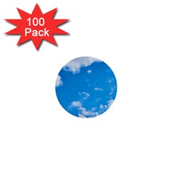 Sky Blue Clouds Nature Amazing 1  Mini Buttons (100 Pack)  by Simbadda