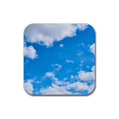 Sky Blue Clouds Nature Amazing Rubber Coaster (square)  by Simbadda