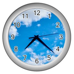 Sky Blue Clouds Nature Amazing Wall Clocks (silver)