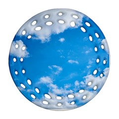Sky Blue Clouds Nature Amazing Round Filigree Ornament (two Sides) by Simbadda