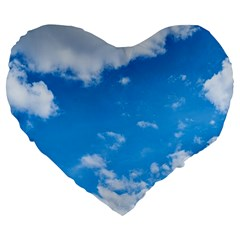 Sky Blue Clouds Nature Amazing Large 19  Premium Heart Shape Cushions by Simbadda