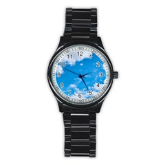 Sky Blue Clouds Nature Amazing Stainless Steel Round Watch by Simbadda