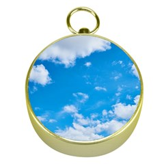 Sky Blue Clouds Nature Amazing Gold Compasses by Simbadda