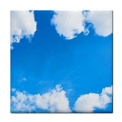 Sky Clouds Blue White Weather Air Tile Coasters by Simbadda