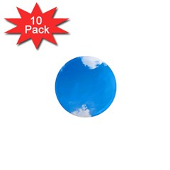 Sky Clouds Blue White Weather Air 1  Mini Magnet (10 Pack)  by Simbadda