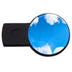 Sky Clouds Blue White Weather Air Usb Flash Drive Round (2 Gb) by Simbadda