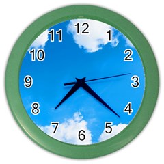 Sky Clouds Blue White Weather Air Color Wall Clocks by Simbadda