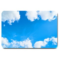 Sky Clouds Blue White Weather Air Large Doormat  by Simbadda