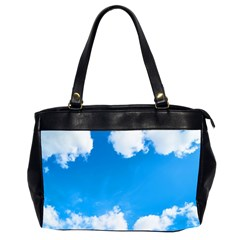 Sky Clouds Blue White Weather Air Office Handbags (2 Sides)  by Simbadda
