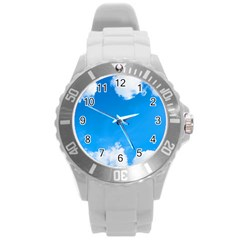 Sky Clouds Blue White Weather Air Round Plastic Sport Watch (l) by Simbadda