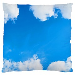 Sky Clouds Blue White Weather Air Large Cushion Case (two Sides) by Simbadda