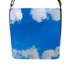 Sky Clouds Blue White Weather Air Flap Messenger Bag (l)