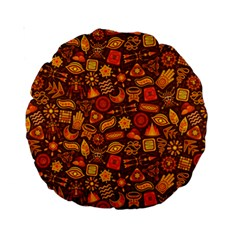 Pattern Background Ethnic Tribal Standard 15  Premium Round Cushions by Simbadda