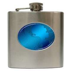 Fractals Lines Wave Pattern Hip Flask (6 Oz) by Simbadda