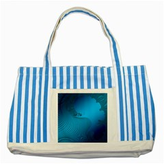 Fractals Lines Wave Pattern Striped Blue Tote Bag by Simbadda