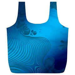 Fractals Lines Wave Pattern Full Print Recycle Bags (l)  by Simbadda