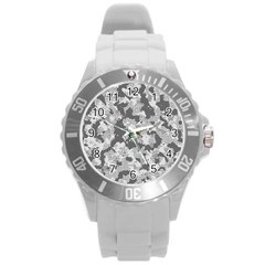 Camouflage Patterns  Round Plastic Sport Watch (l) by Simbadda