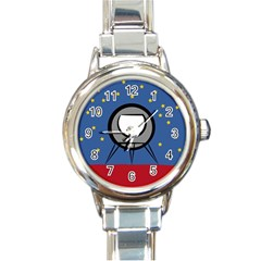 A Rocket Ship Sits On A Red Planet With Gold Stars In The Background Round Italian Charm Watch by Simbadda
