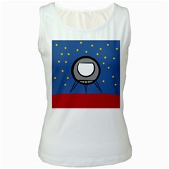 A Rocket Ship Sits On A Red Planet With Gold Stars In The Background Women s White Tank Top by Simbadda