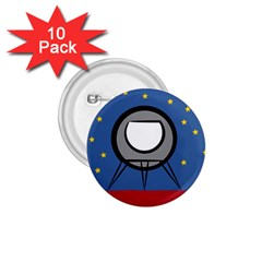 A Rocket Ship Sits On A Red Planet With Gold Stars In The Background 1 75  Buttons (10 Pack) by Simbadda