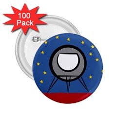 A Rocket Ship Sits On A Red Planet With Gold Stars In The Background 2 25  Buttons (100 Pack)
