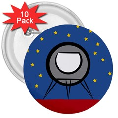 A Rocket Ship Sits On A Red Planet With Gold Stars In The Background 3  Buttons (10 Pack)  by Simbadda