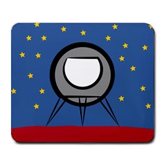 A Rocket Ship Sits On A Red Planet With Gold Stars In The Background Large Mousepads by Simbadda