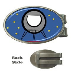 A Rocket Ship Sits On A Red Planet With Gold Stars In The Background Money Clips (oval)  by Simbadda