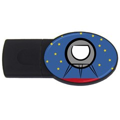 A Rocket Ship Sits On A Red Planet With Gold Stars In The Background Usb Flash Drive Oval (2 Gb) by Simbadda
