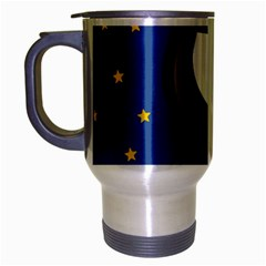 A Rocket Ship Sits On A Red Planet With Gold Stars In The Background Travel Mug (silver Gray) by Simbadda