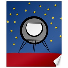 A Rocket Ship Sits On A Red Planet With Gold Stars In The Background Canvas 8  X 10  by Simbadda