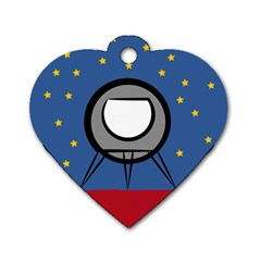 A Rocket Ship Sits On A Red Planet With Gold Stars In The Background Dog Tag Heart (one Side) by Simbadda