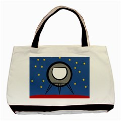 A Rocket Ship Sits On A Red Planet With Gold Stars In The Background Basic Tote Bag (two Sides) by Simbadda