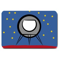 A Rocket Ship Sits On A Red Planet With Gold Stars In The Background Large Doormat  by Simbadda