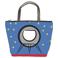A Rocket Ship Sits On A Red Planet With Gold Stars In The Background Bucket Bags by Simbadda
