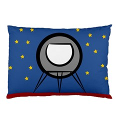 A Rocket Ship Sits On A Red Planet With Gold Stars In The Background Pillow Case by Simbadda