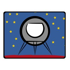 A Rocket Ship Sits On A Red Planet With Gold Stars In The Background Fleece Blanket (small) by Simbadda