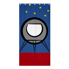 A Rocket Ship Sits On A Red Planet With Gold Stars In The Background Shower Curtain 36  X 72  (stall)