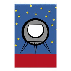 A Rocket Ship Sits On A Red Planet With Gold Stars In The Background Shower Curtain 48  X 72  (small)  by Simbadda