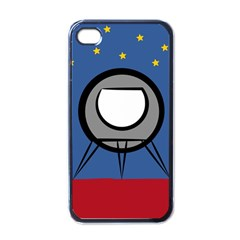 A Rocket Ship Sits On A Red Planet With Gold Stars In The Background Apple Iphone 4 Case (black)